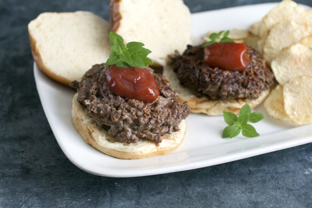 Savory, delicious chop your own burgers. The trick to chopping the beef is to cut it into 1-inch chunks, then freeze it for about 15 minutes until it is just firm. These partially frozen chunks chop perfectly in the food processor without becoming overworked.