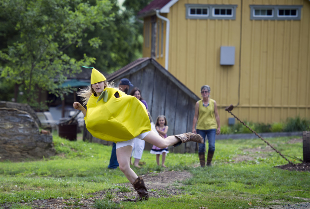 Bloomery Plantation Distillery employee Allison Manderino, 28, transforming into The Lemon Dancer to entertain visitors to the distillery in Charles Town, W.Va.