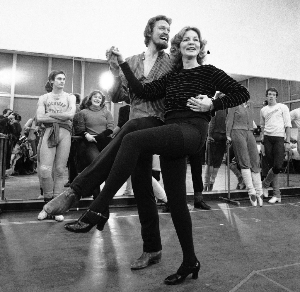 "Lauren Bacall rehearses with Eivind Harum in 1981 for the musical ""Woman of the Year"" in New York."