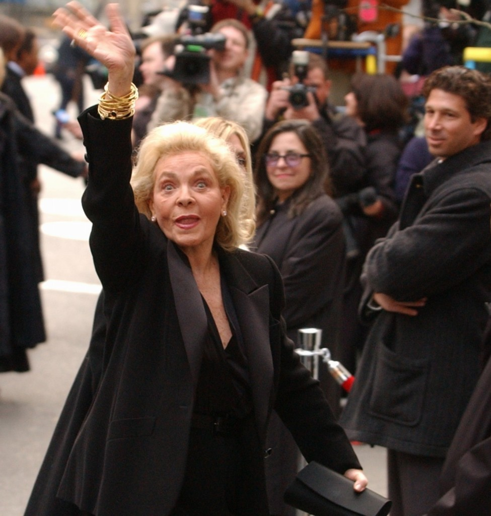 Lauren Bacall waves as she enters Marble Collegiate Church in New York for the wedding of Liza Minnelli and David Gest in March 2002.