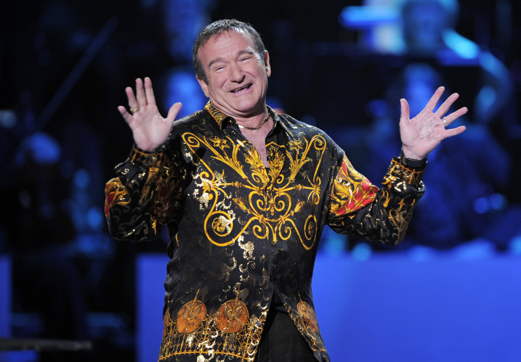 "Robin Williams speaks on stage at the ""Idol Gives Back"" fundraising special of ""American Idol"" in Los Angeles in 2008."