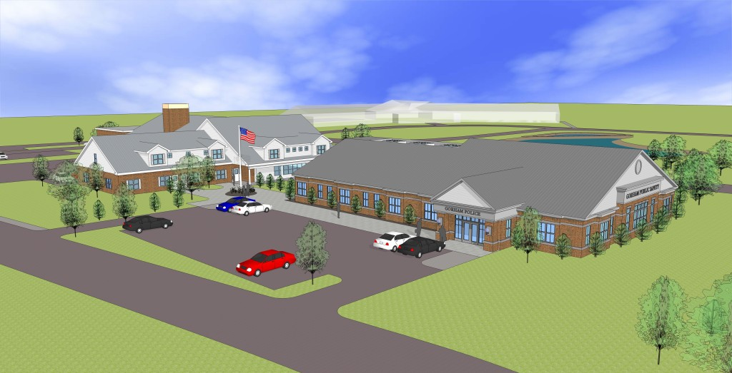 This architectural rendering shows the current Gorham public safety building, which would be renovated to become the fire department headquarters, and a proposed new building to house the police department.