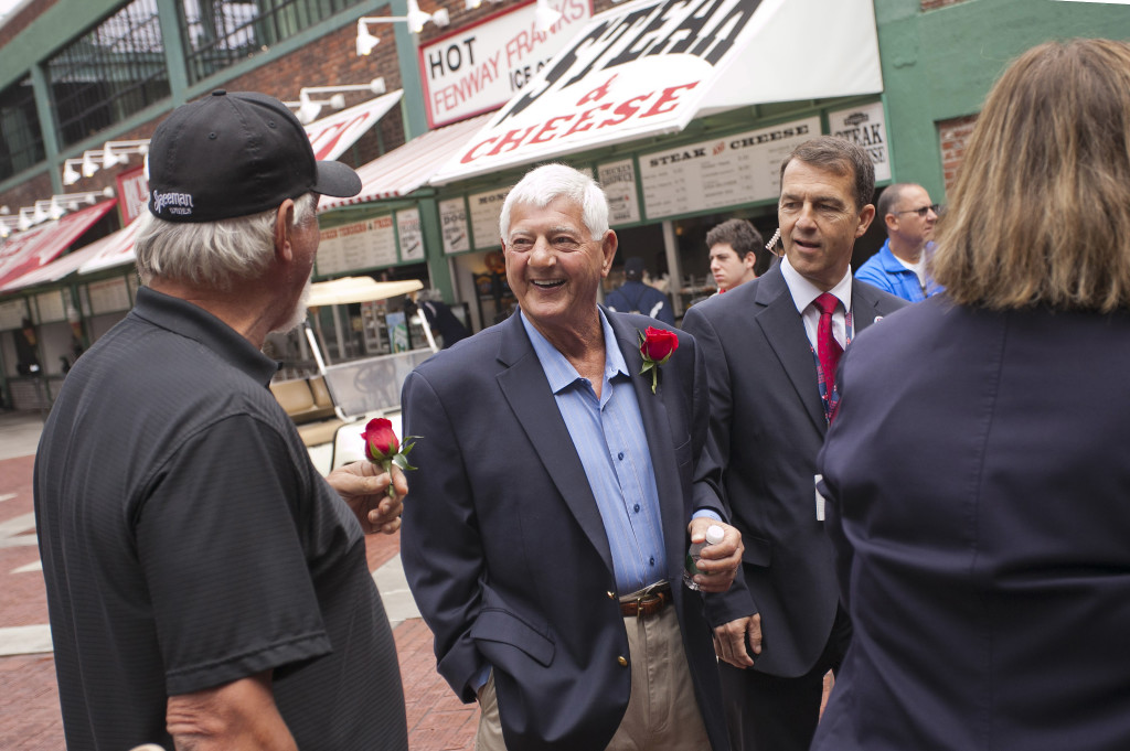 Carl Yastrzemski attends a ceremony where he is honored with a statue outside Fenway Park's Gate B in Boston on Sept. 22, 2013. Reuters
