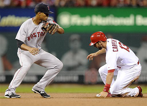 Cardinals third baseman Matt Carpenter slides into second with a double as Boston shortstop Xander Bogaerts can't make the tag Wednesday in St. Louis. The Associated Press