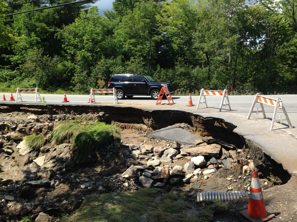 Photo of Upper Mast Landing Road in Freeport after heavy rainfall on Wednesday. Logan Werlinger/Staff photographer