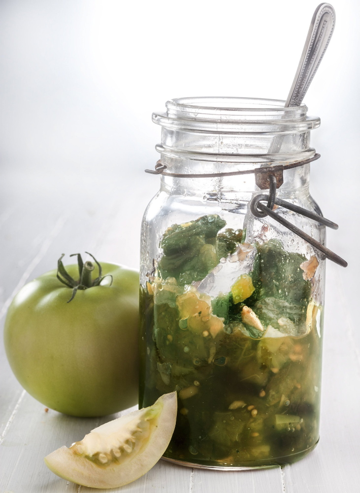 This chutney takes advantage of the abundance of green tomatoes available at this time of year.