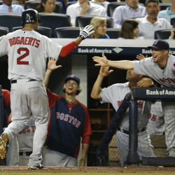 Boston's Xander Bogaerts is greeted at the dugout steps after his third-inning solo home run off New York Yankees starting pitcher Shane Greene, moments after Boston's Daniel Nava hit a three-run home run off Greene.