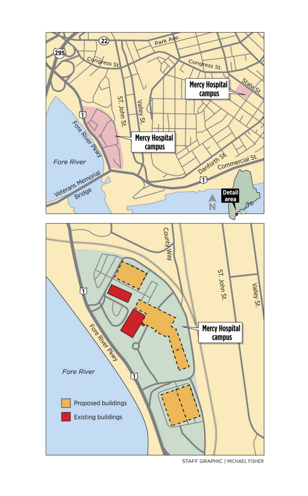Mercy Hospital Campus Map.Project Calls For Mercy Hospital To Leave Portland S West End In
