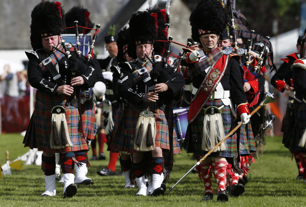 The Atholl Highlanders pipe band plays at the Birnam Highland Games in Scotland on Saturday. Scotland will hold a referendum on independence on Sept. 18.