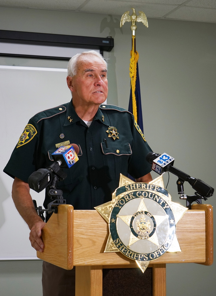 York County Sheriff Maurice Ouellette speaks to the media Friday at the York County Jail in Alfred.