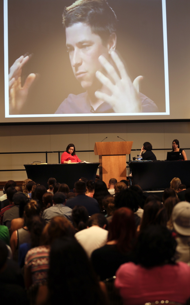 Incoming students at San Diego State University watch a video on sexual consent during an orientation meeting last month in San Diego.