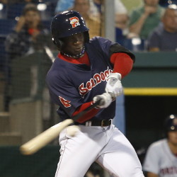 Rusney Castillo of Portland lines a double in the fifth inning of Game 3 of the playoff series against Binghamtom. Derek Davis/Staff Photographer