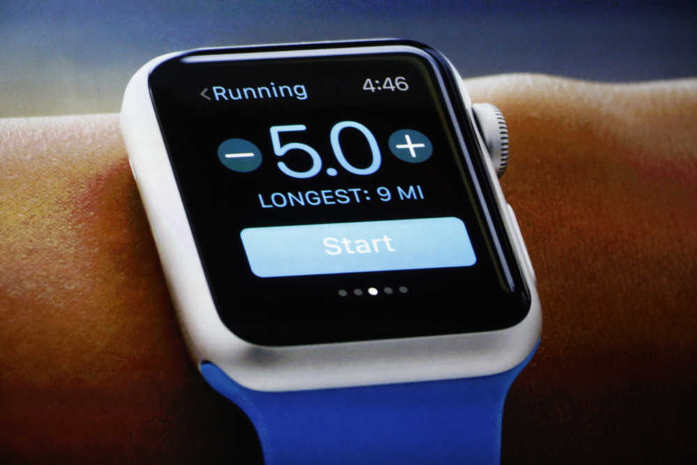 An Apple Watch is shown during an Apple event Monday.