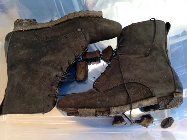 Carol Orazem donated to the museum a pair of boots with melted soles that she wore while working at the World Trade Center after the terrorist attacks of 2001. Orazem was a New York City police detective when the towers were destroyed.
