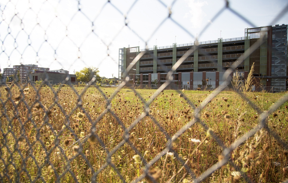 A 1.3-acre lot between the Ocean Gateway garage, back right, and Thames Street could be eyed as a prime locale for a mixed-use project by Portland Harbor.