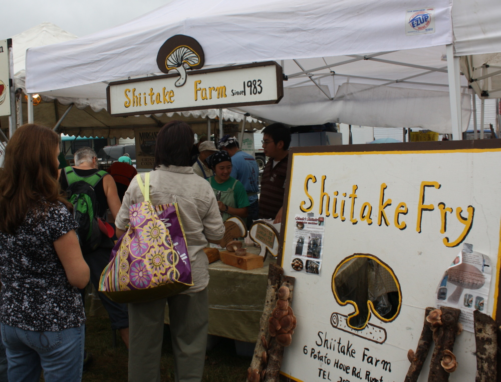 Fried shiitake mushrooms from Toshio and KaLin Hashimoto's Rumford farm are a vegetarian favorite among fair-goers.