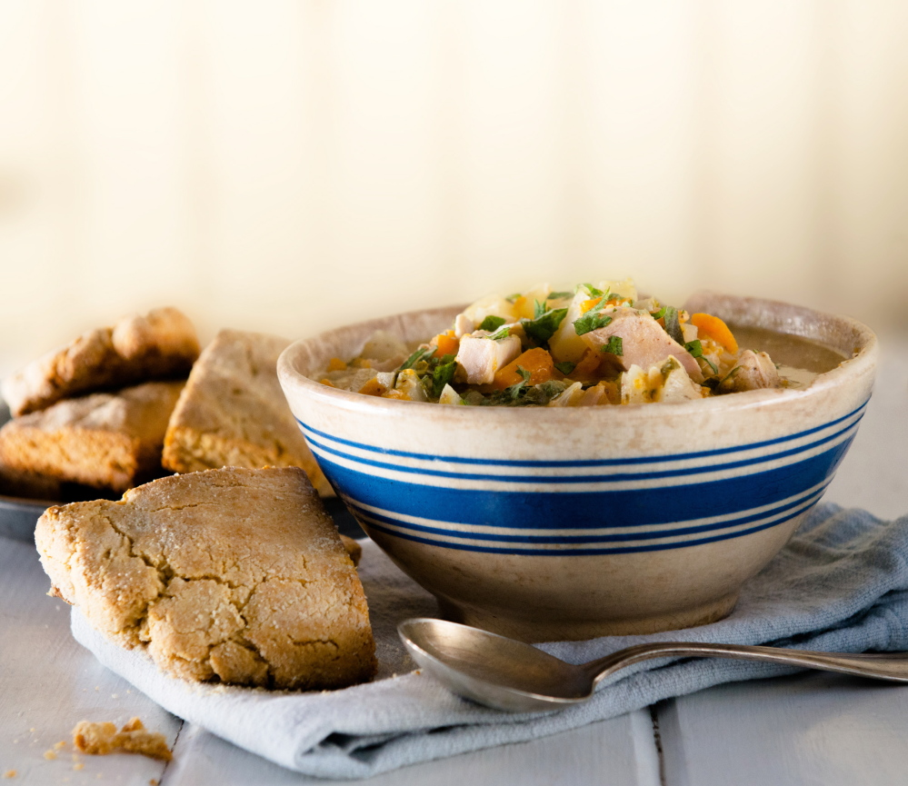 Almond-Chicken Soup and Mile-High Biscuits.
