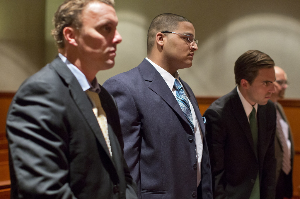 Anthony Pratt Jr., center, with attorneys Peter Cyr, left, and Dylan Boyd, far right, at the final motions hearing at the Cumberland County Courthouse last week. He is accused of murdering Margarita Fisenko Scott in 2013. Yoon S. Byun/Staff Photographer