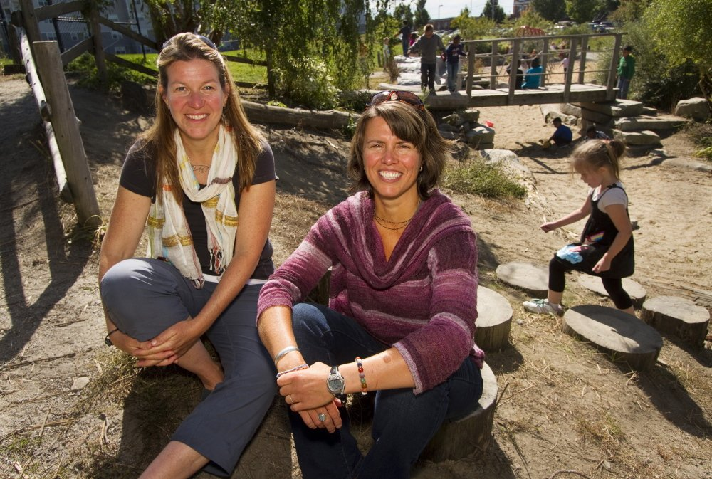 Laura Newman, left, and consultant Sheila Sullivan at Portland's East End Community School, where the School Ground Greening Coalition helps design and build outdoor play space.