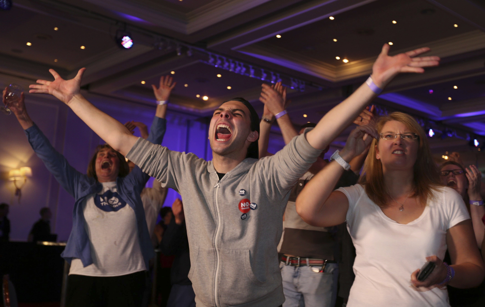 """""""No"""" supporters celebrate the voting results in the Scottish independence referendum at the Marriott Hotel in Glasgow."""