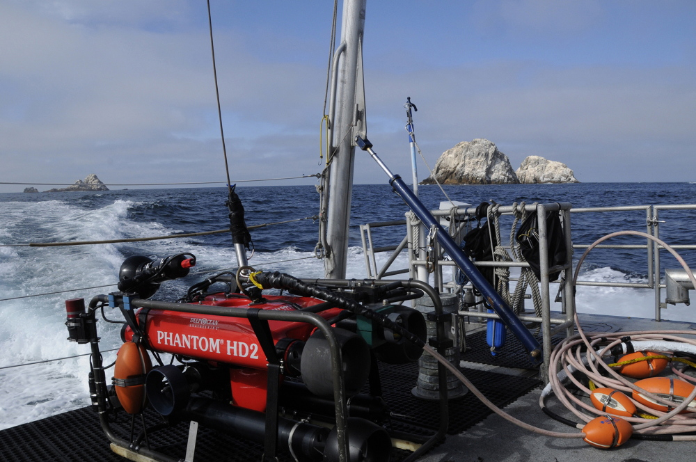 An undersea vehicle sits on the deck of the federal research vessel Fulmar near the Farallon Islands, 30 miles off San Francisco. Marine archaeologists exploring more than a dozen underwater sites for shipwrecks using the undersea vehicle and sonar have located the Maine-built Noonday, which sank on New Year's Day 1863.