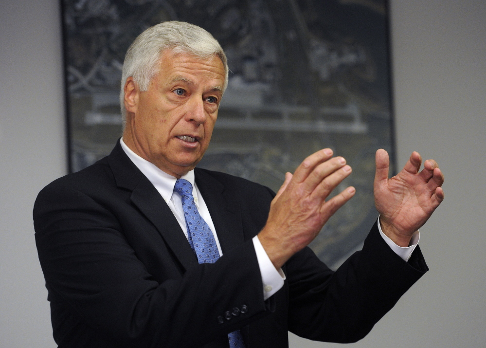PORTLAND, ME - SEPTEMBER 19: Democratic gubernatorial candidate Mike Michaud speaks during a press conference at the Portland International Jetport Friday, September 19, 2014. (Photo by Shawn Patrick Ouellette/Staff Photographer)