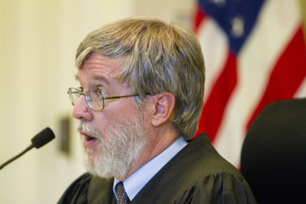 Justice Paul Fritzsche speaks during a hearing Friday in York County Superior Court on a complaint filed by a group pushing for a marijuana legalization referendum in York. The Board of Selectmen have twice voted against putting the question on the ballot, saying it is not a lawful ordinance.
