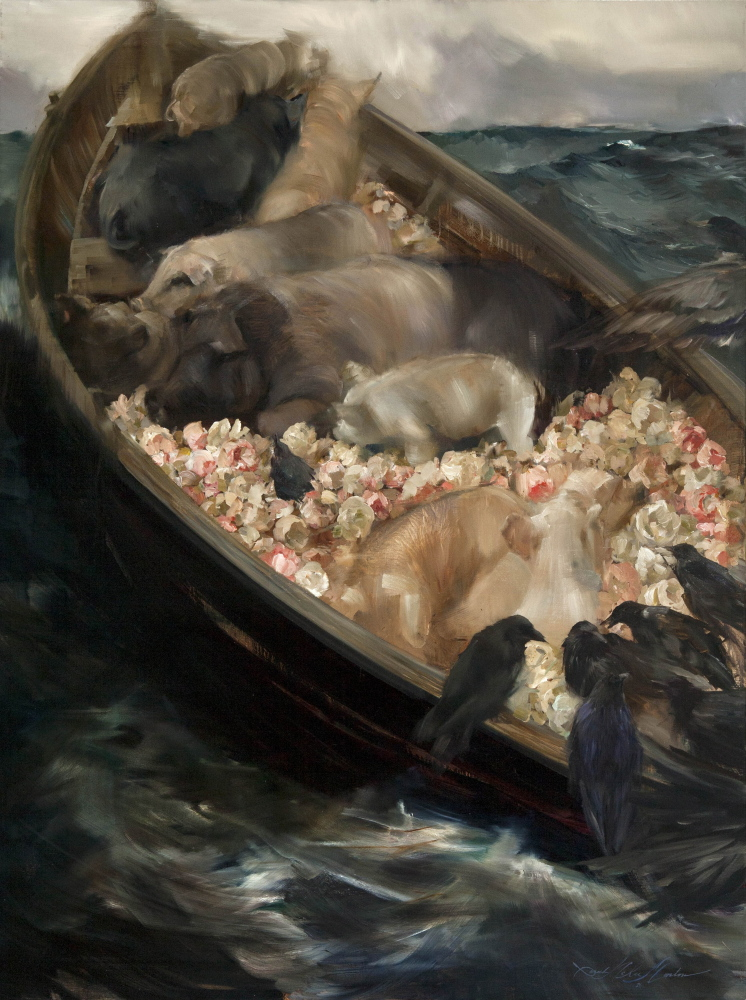 """Wilding on November 1st, the Worth of a Pig (after 'Fog Warning' by Winslow Homer)."""