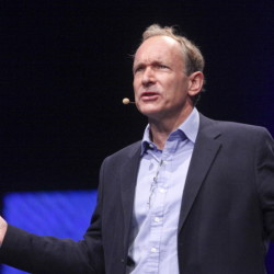 World Wide Web inventor Tim Berners-Lee speaks at the Nokia World event in London on Wednesday.