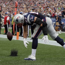 New England Patriots tight end Rob Gronkowski celebrates a TD.