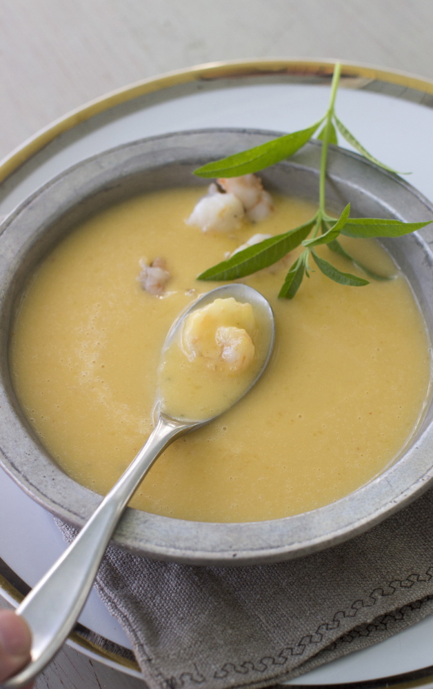 Coconut-butternut squash soup with shrimp.
