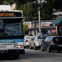 Use of Metro buses like this one on Congress Street in Portland could enable the expansion of the St. Lawrence Arts Center without requiring the creation of more parking on Munjoy Hill to accommodate theater patrons.