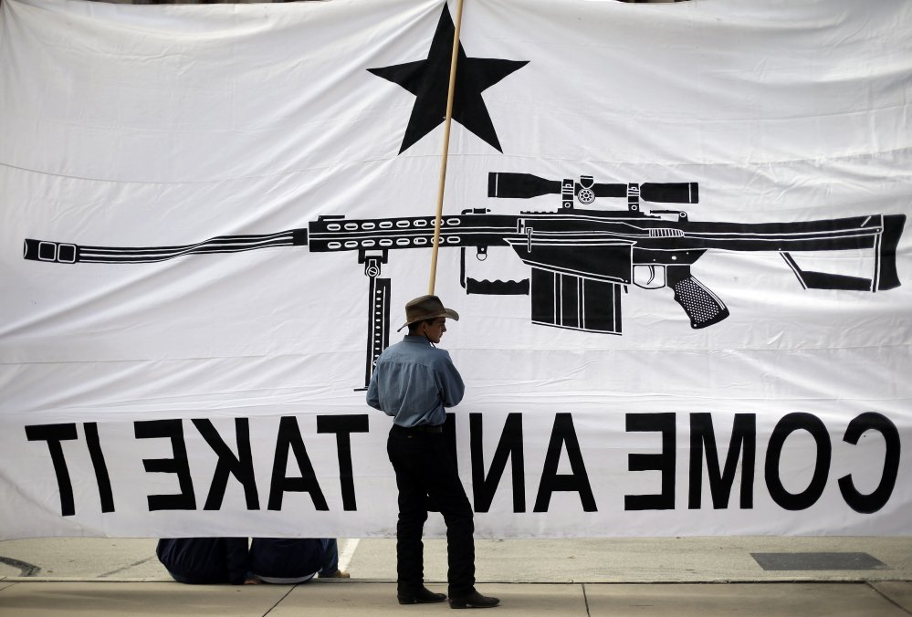 Austin Ehlinger helps hold a banner during a 2103 Guns Across America rally, in Austin, Texas. If a ruling stands after further review in a federal appeals court, it may put the scope of the right to bear arms in front of the Supreme Court.