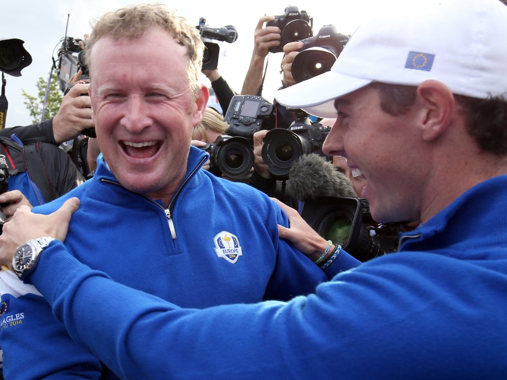 Europe's Jamie Donaldson, left, and Rory McIlroy celebrate winning the 2014 Ryder Cup golf tournament at Gleneagles, Scotland, on Sunday.