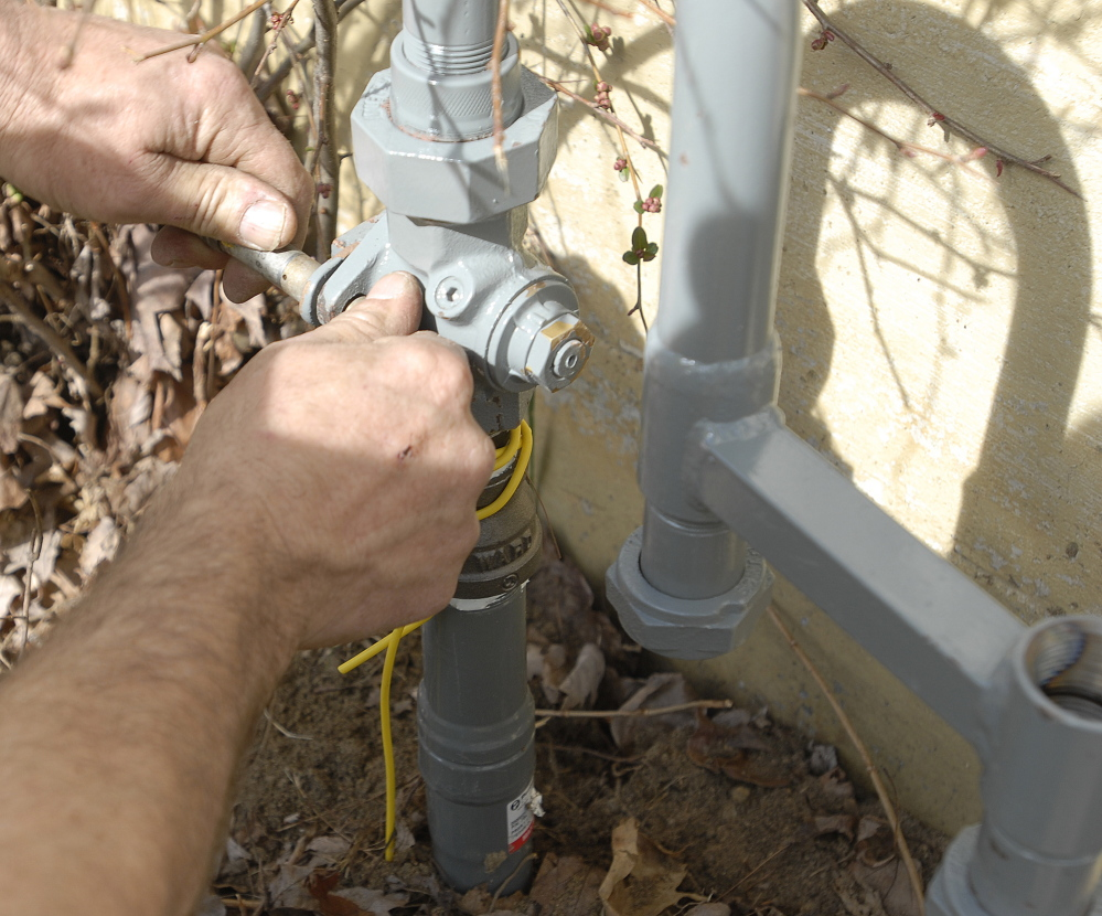 The valve is locked to prevent access to new natural gas installation until the meter is installed.