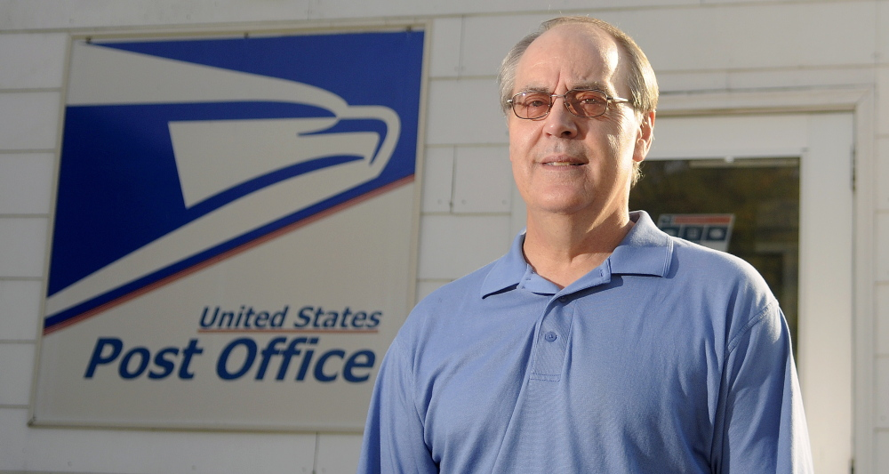David Shepherd at the East Winthrop Post Office Monday where he is retiring as postmaster.