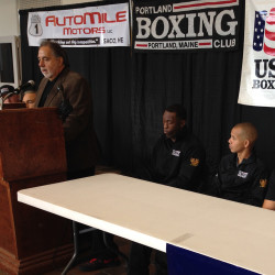 From left, Al Valenti, volunteer marketing and assistant event coordinator, and boxers Russell Lamour of Portland, Jorge Abiague of Portland, Brandon Berry of West Forks, and Jason Quirk of Scarborough appear at a press conference Monday announcing a Nov. 15 fight card in Portland. Yoon Byun / Staff Photographer