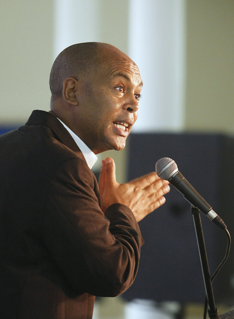Tefere Gebre, executive vice president of the AFL-CIO, speaks at the annual Portland Labor Day breakfast before the march from the Irish Heritage Center to Longfellow Square Monday.