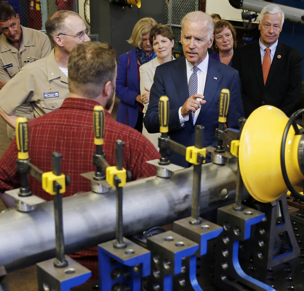 Vice President Joe Biden tours the Portsmouth Naval Shipyard in Kittery on Wednesday.