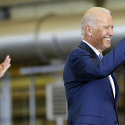 Vice President Joe Biden gives a thumbs up to shipyard workers at the Portsmouth Naval Shipyard in Kittery on Wednesday.