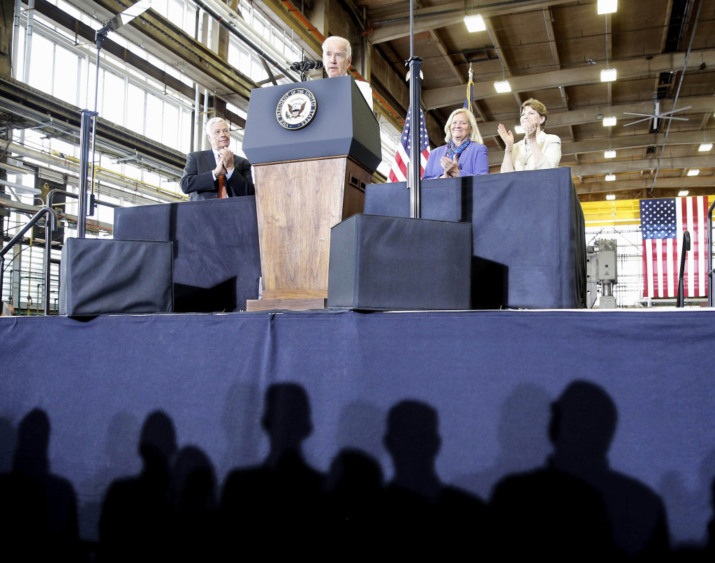 "Vice President Joe Biden told shipyard workers that the Portsmouth Naval Shipyard in Kittery is a ""centerpiece"" of the national defense program."