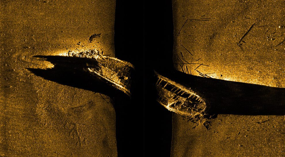 This image released by Parks Canada, on Tuesday shows a side-scan sonar image of a ship on the sea floor in northern Canada.