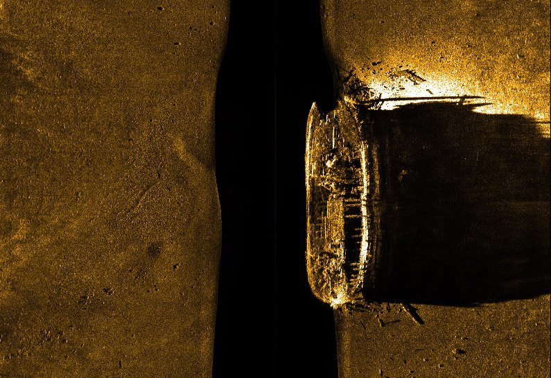 This image released by Parks Canada, on Tuesday shows a side-scan sonar image of one of two fabled British explorer ships on the sea floor in northern Canada. The ships were last seen in the late 1840s. The Associated Press / Parks Canada, via The Canadian Press