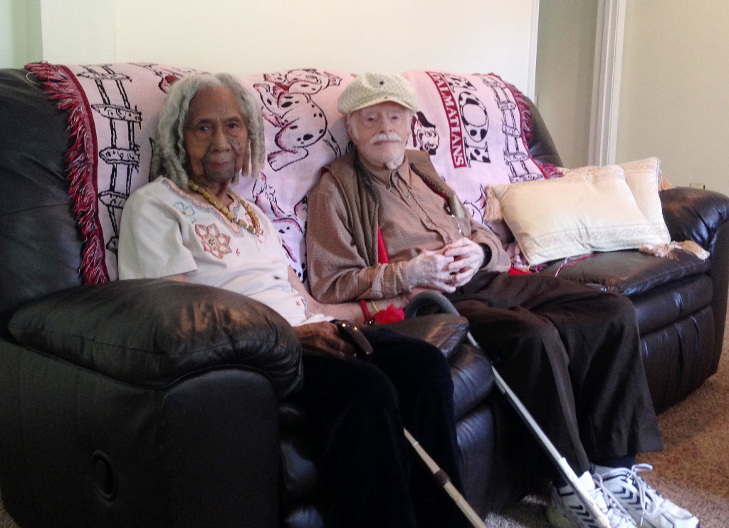 This Aug. 5, 2014, photo shows 96-year-old Edith Hill and 95-year-old Eddie Harrison in their home in Annandale, Va. The two had been companions for more than a decade before marrying earlier this year. The Associated Press