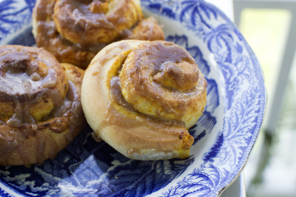 Salted caramel pumpkin buns combine two classics, pumpkin pie and a cinnamon bun, which is topped with a homemade caramel sauce.