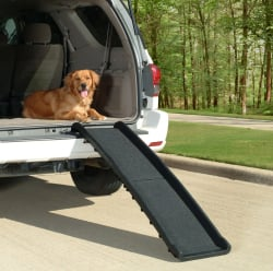 In this photo provided by Wayfair.com, folding steps like these help ease the transport of elderly pets and can be conveniently stored at home or in your vehicle. The Associated Press