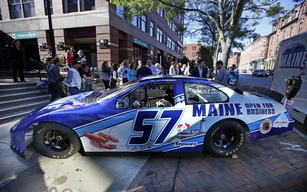 "A race car being billed as the ""Maine Open for Business Chevrolet,"" is introduced to the public Friday in Portland. The marketing slogan was introduced by Maine Gov. Paul LePage. The high-speed billboard for Maine was partially funded by taxpayers."