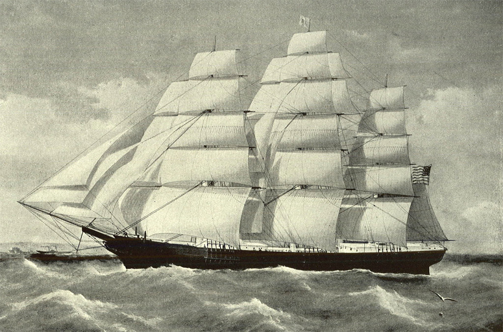 """A painting of the Noonday from the publication """"Sailing Ships of New England,"""" by C. B. Webster."""
