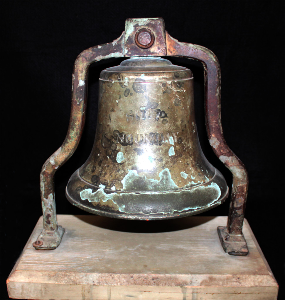 The bell of the Noonday, shown here in a National Maritime Research Center photo, was recovered when it became entangled in the fishing net of the trawler Junta in 1934.
