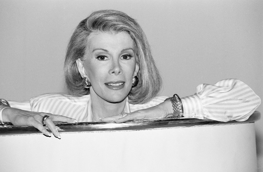 "In this 1989 file photo, Joan Rivers announces that she is starting a new syndicated talk show, ""The Joan Rivers Show."""